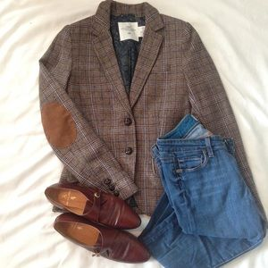 H&M Tweed Blazer With Elbow Patches Size 2